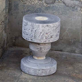 Turned stool made of Newspaperwood