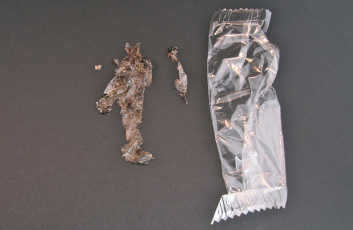 Biobased packaging foil before and after 85 days of composting.