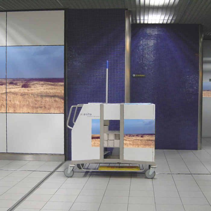 Schiphol Airport Bathroom areas redesigned to match the cleaning cart design.