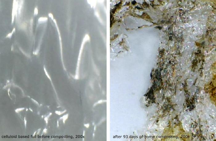 End result home compost test of celluloid foil after 93 days