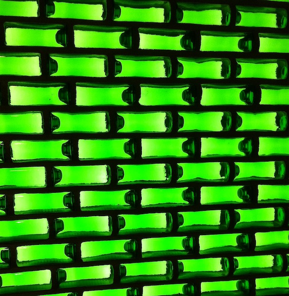 Wall made from Heineken bottles