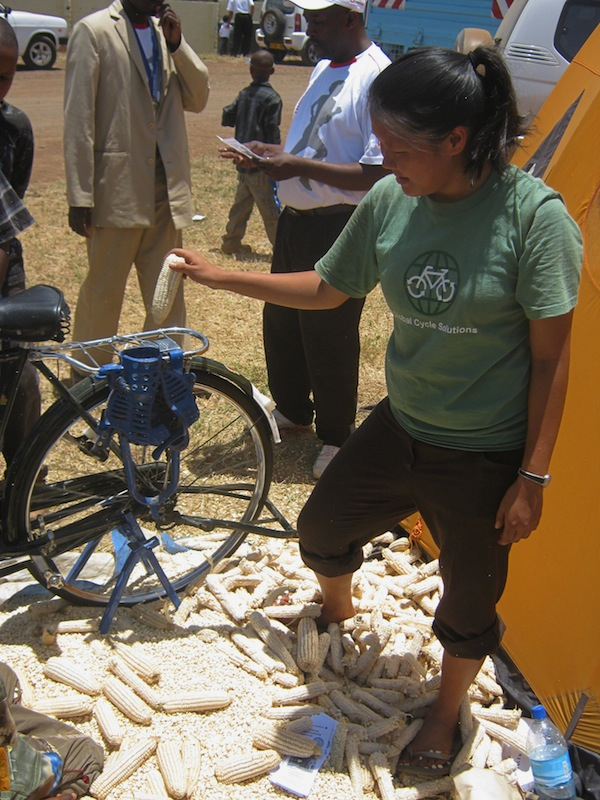 Bicycle powered corn sheller by GCS